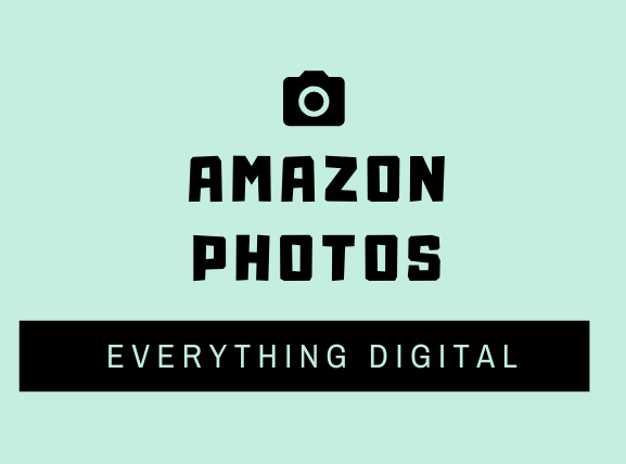 amazon photos 薄い水色地に黒文字中央上方に黒のカメラマーク