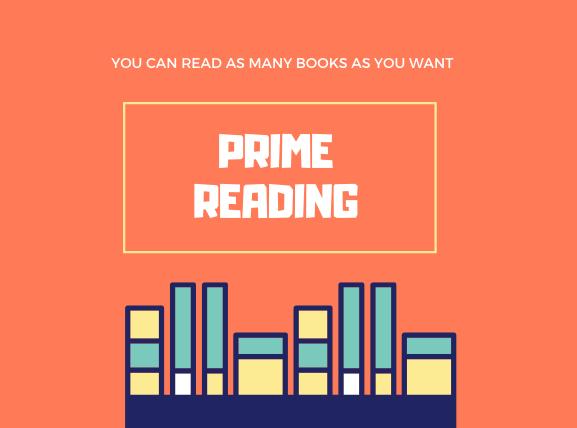 オレンジ地に下部に本が8冊中央にPrime Reading
