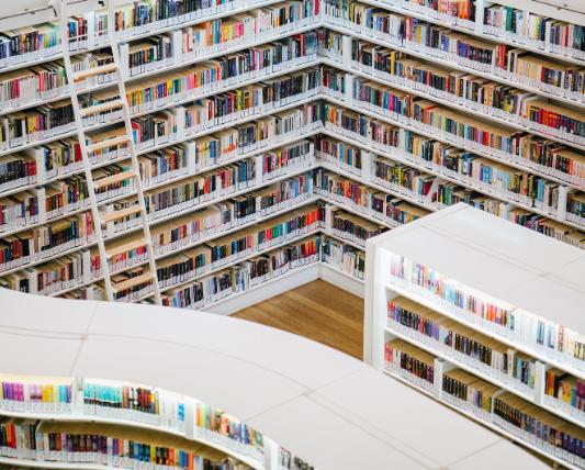 上から下までぎっしり整然と本が並んだ本棚の画像