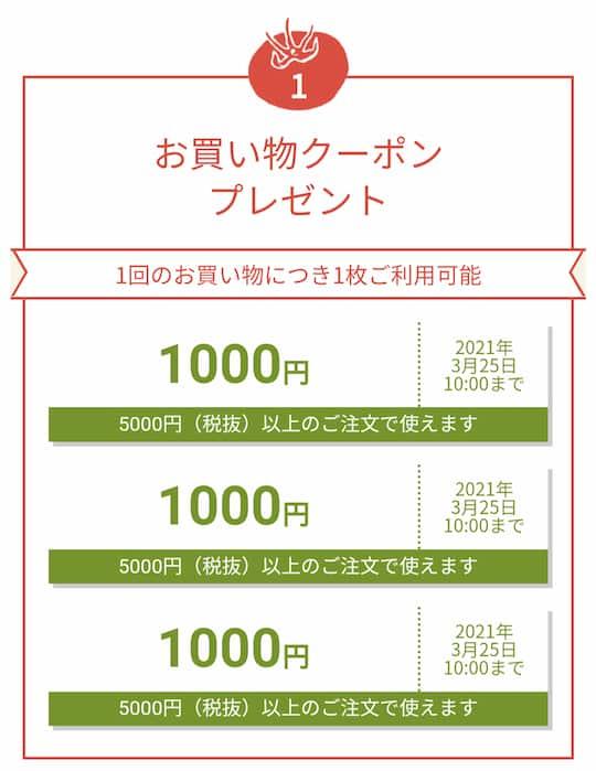 オイシックス入会特典1,000円クーポン3枚プレゼント画面