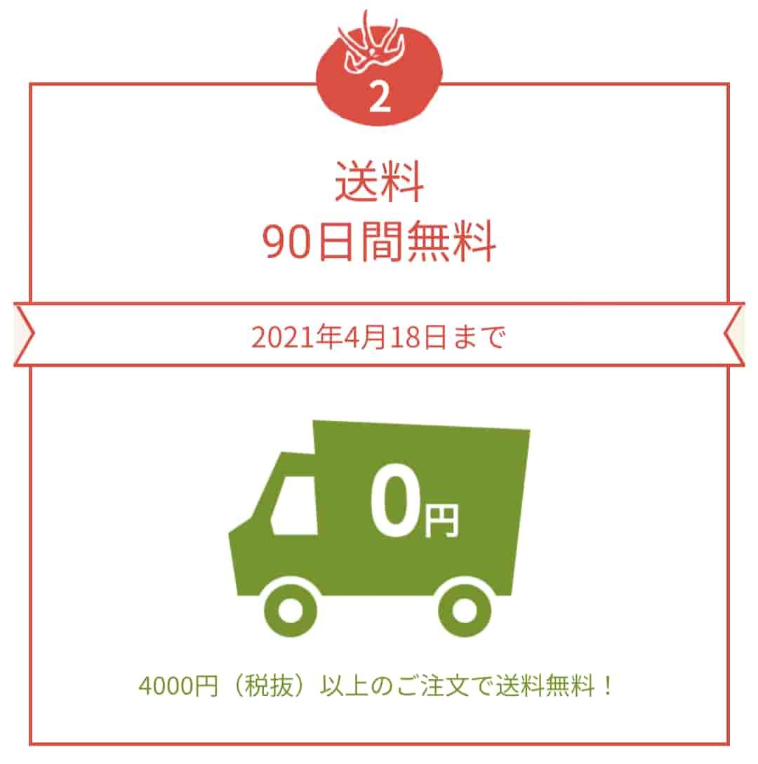 オイシックス入会特典送料90日間無料の画像