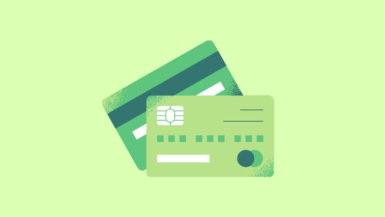 薄いグリーン地に同系色のグリーンの2枚のクレジットカードのイラスト