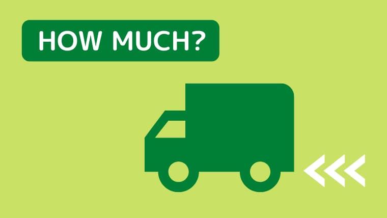 薄いグリーンのバック 右下に濃いグリーンのトラック 左上に濃いグリーン地に白字でhow much?と書いているイラスト