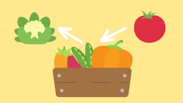 木製の野菜ボックスからカリフラワーを取り出してトマトを入れているイラスト