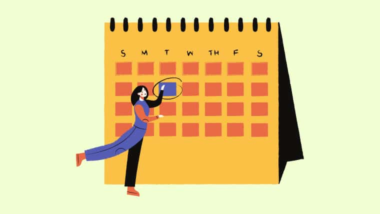 薄緑のバックの中央に黄色の卓上カレンダー。その左前に青いカバーオールをきた黒髪の女性が第2火曜日を指し示しているイラスト