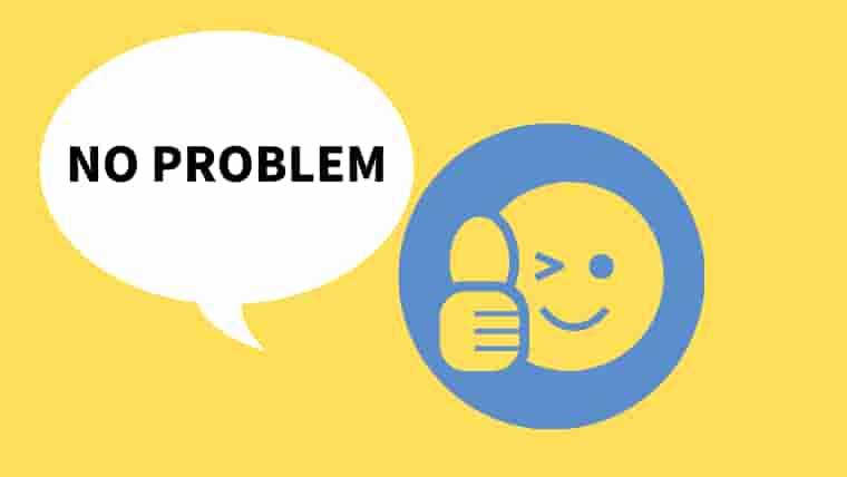 黄色のバックの右側に青の円、その中に黄色いグッドサインをした顔のマーク 左側に白い吹き出しにNO PROBLEMの文字