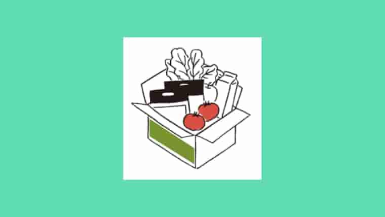 エメラルドグリーンのバックの中央にオイシックスの段ボールに入った野菜やキットオイシックスのイラスト