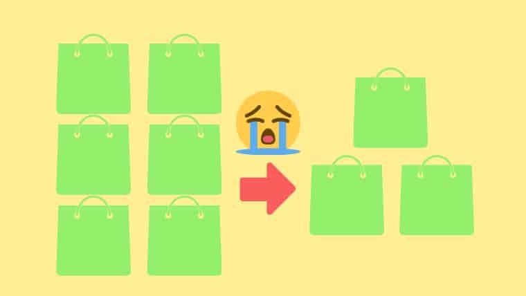 薄オレンジ色の背景の左側にグリーンのバッグ6個、真ん中に右向きの赤い矢印、その上に泣いている顔のスタンプ、右側にグリーンのバッグ3個の画像