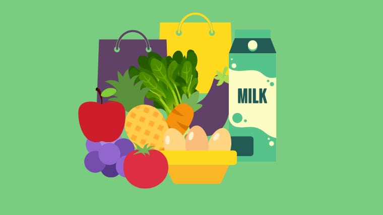 濃いグリーンの背景の中央に牛乳・卵・野菜・果物を盛りだくさんに集めたグラフィック