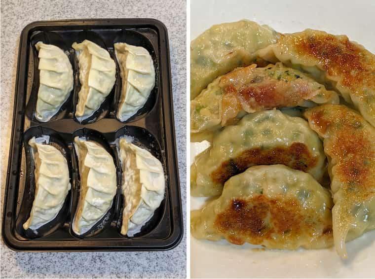 オイシックスVIP会員限定 手包み大餃子の画像 左側焼く前ケースに6個並んでいる画像 右側焼いてお皿に盛りつけた画像